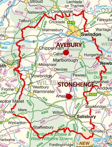 Stone Circles of Wiltshire - Avebury Stonehenge Location Map